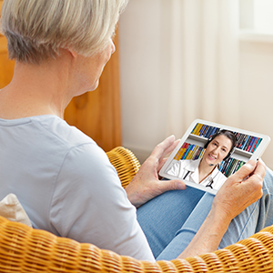 Mesa View patient talking to a doctor via TeleHealth.
